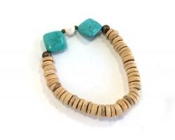 Turquoise Diamond Fresh Water Pearl Beige Coco Bracelet