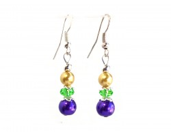 Mardi Gras Pearl Crystal Hook Earrings