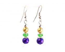 Mardi Gras Pearl Crystal Hook Earrings