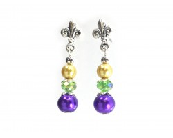 Mardi Gras Pearl Fleur De Lis Post Earrings