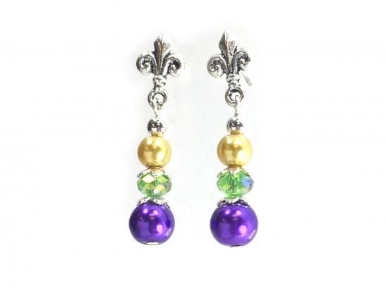 Mardi Gras Pearl Fleur De Lis Post Earrings
