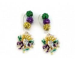 Mardi Gras Mask Pave Bead  Kidney Wire Earrings
