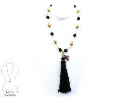 Black Gold Pearl Bugle Bead Tassel Necklace