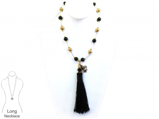Black Gold Pearl Bugle Bead Tassel Necklace