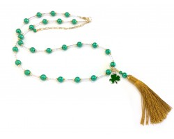 Green Gold Bugle Bead Tassel Clover Necklace