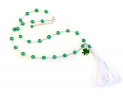 Green Silver Bugle Bead Tassel Clover Necklace