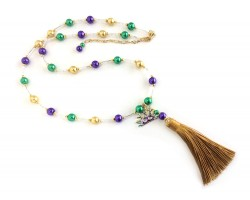 Mardi Gras Bugle Bead Tassel Mask Necklace