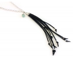 Silver Black Leather Tassel Chain Necklace