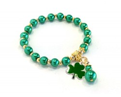 Green Clover Pearl Gold  Stretch Bracelet