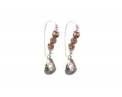 Brown Acid Agate Stone Cowboy Hat Wire Earrings