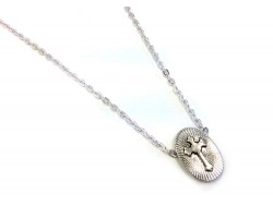Silver Oval Cross Chain Necklace