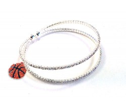 Clear Basketball 2 Line Crystal Memory Wire Bracelet