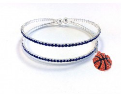 Blue Basketball 2 Line Crystal Memory Wire Bracelet