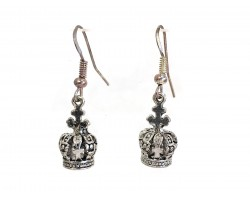 Silver Small Crown Charm Hook Earrings