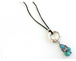 Turquoise Charm Silver Metal Disc Leather Necklace
