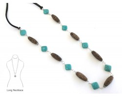 Turquoise Diamond Brown Designer Clay Bead Necklace