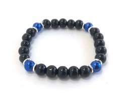Blue Black 4 Glass Bead Stretch Bracelet