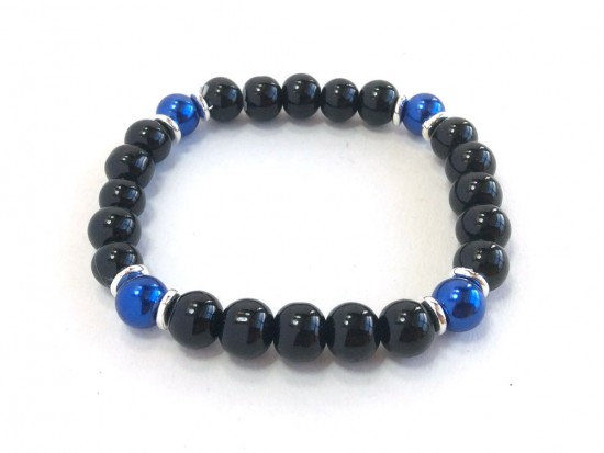 Blue Black 4 Glass Bead Stretch Bracelet