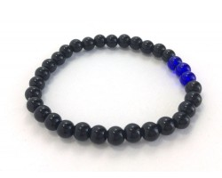 Blue Black 3 Glass Bead Stretch Bracelet