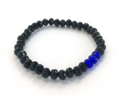 Blue Black 3 Crystal Stretch Bracelet