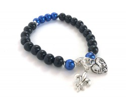 Blue Black Bead Heart Charm Stretch Bracelet