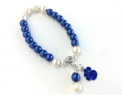Blue White Pearl Paw Print Charm Stretch Bracelet