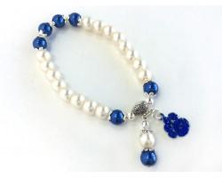 White Blue Pearl Paw Print Charm Stretch Bracelet