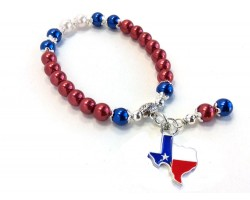 Red White Blue Pearl Texas Flag Map Stretch Bracelet