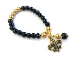 Black Gold Pearl Fleur de Lis Charm Stretch Bracelet