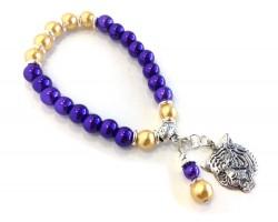 Purple Gold Pearl Tiger Head Stretch Bracelet