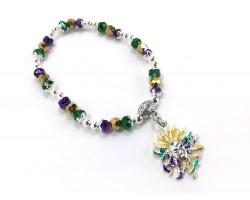 Mardi Gras Crystal Charm Stretch Bracelet