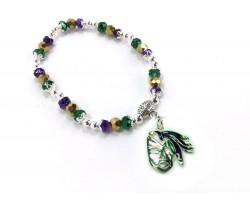 Mardi Gras Feather Mask Crystal Stretch Bracelet