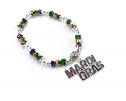 Mardi Gras Crystal Stretch Bracelet