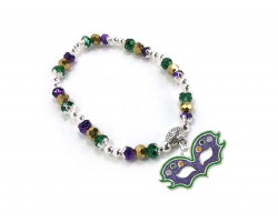 Mardi Gras Crystal Mask Charm Stretch Bracelet