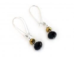Black Gold Crystal Kidney Wire Earrings