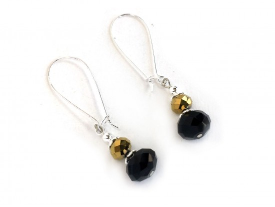 Black Gold Crystal Kidney Wire Earrings