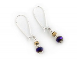 Purple Gold Crystal Kidney Wire Earrings