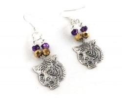 Purple Gold Crystal  Loop Tiger Earrings