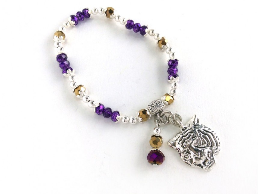Purple Gold Silver Stretch Tiger Charm Bracelet