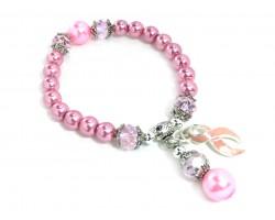 Pink Crystal Cancer Ribbon Pearl Stretch Bracelet