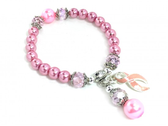 Pink Crystal Cancer Ribbon Pearl Stretch Bracelet