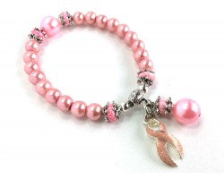Pink Stone Cancer Ribbon Pearl Stretch Bracelet