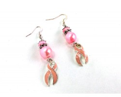 Pink Cancer Ribbon Pearl Hook Earrings