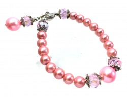Pink Crystal Pearl Stretch Bracelet