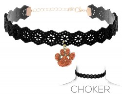 Orange Black Paw Print Charm Cut Leather Choker