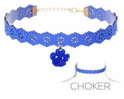 Blue Paw Print Charm Cut Leather Choker