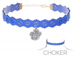 Blue White Paw Print Charm Cut Leather Choker