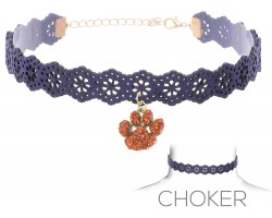 Navy Orange Paw Print Charm Cut Leather Choker