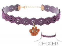 Purple Orange Paw Print Charm Cut Leather Choker