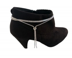 Silver Clear Crystal Rope Lariat Boot Shoe Jewelry